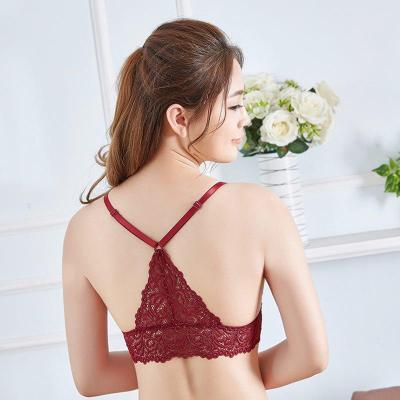 Bra Wireless Bras for Women Lingerie BH Lace Sexy Bralette Push Up Bra Plus Size Y-line Straps Backless Lace Bras Large Size