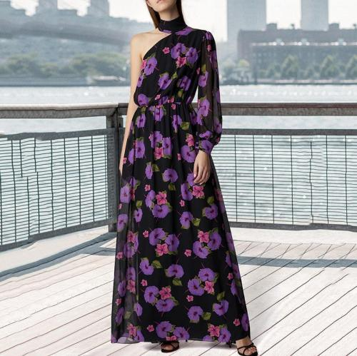 Sexy Single Shoulder Printed Chiffon Maxi Dress