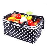 Polka Dot Picnic Basket Insulated Colder Picnic Camping Basket Cool Hamper Storage Basket Bag Box Takeaway Box