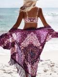 Chiffon Tassel Ornamental Vacation Floral-Print Beach Cover-Ups