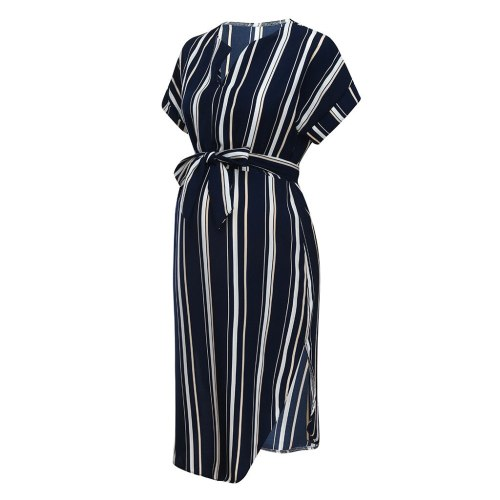Dress Summer Plus Size Maternity Dresses For Pregnant Women Mom Maternity Pregnancy Dress stripe Dresses Maternity Clothes