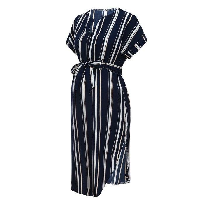Dress Summer Plus Size Maternity Dresses For Pregnant Women Mom Maternity Pregnancy Dress stripe Dresses Maternity Clothes