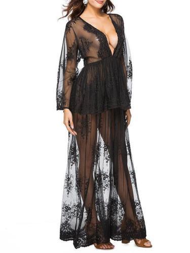Lace Falbala Deep V-neck Evening Dress