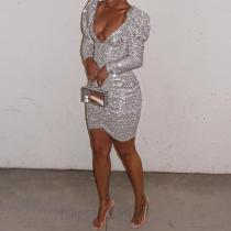 Sexy Fashion Deep V Paillette Long Sleeve Bodycon Dress