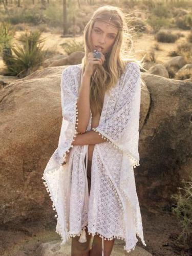 Lace Pompoms Cover-Ups Swimwear
