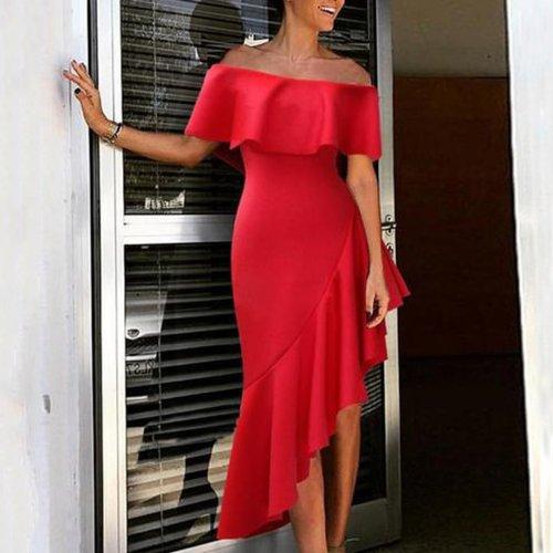 Sexy Off Shoulder Plain Flounce Border Bodycon Dress
