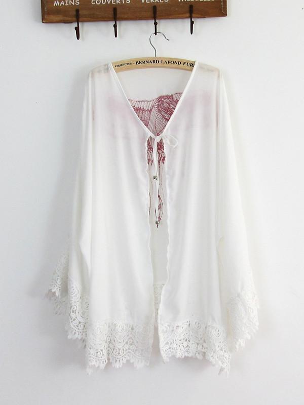 Lace Sleeves Mini Eagle Print White Bohemia Beach Cardigan Tops