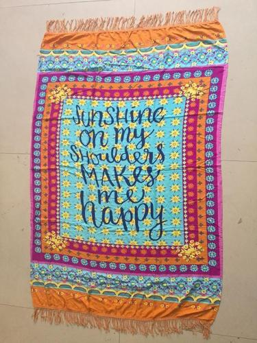Special Letter Print Rectangle Shawl Beach Mat Yoga Mat