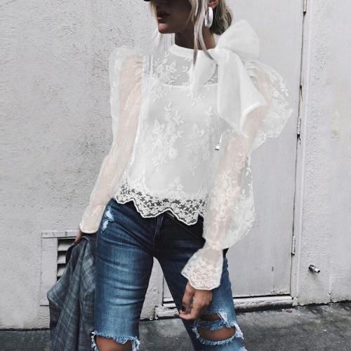 Fashion ladies puff sleeve mesh shirt