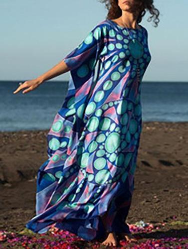 Deep Blue Printed Beach Cover-ups