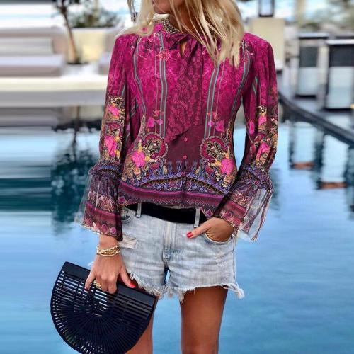 Fashion Floral Printed Splicing Mesh Shirt
