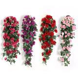 Silk Artifical Flowers Rose Vine Wall Hanging Flowers Rattan Hanging Basket Fake Plants Leaves Romantic Wedding Home Decoration