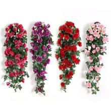 Silk Artifical Flowers Rose Vine Wall Hanging Flowers Rattan Hanging Basket Fake Plants Leaves Romantic Wedding Home Decoration