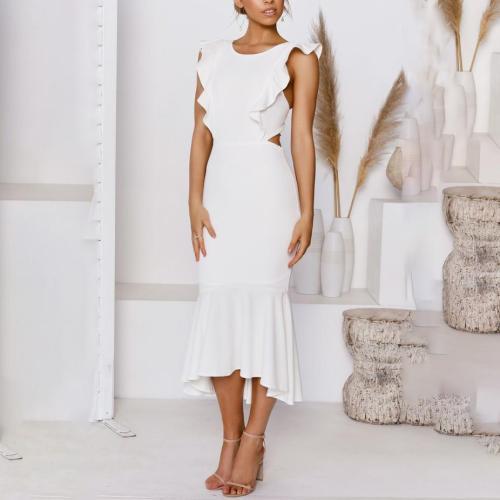 Fashion ruffled backless chest dress