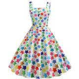 Cherry Print Vintage Dresses Summer 2020 Sleeveless  Style Big Swing 1950s 60s Rockabilly Dress Big Swing Pinup Vestido