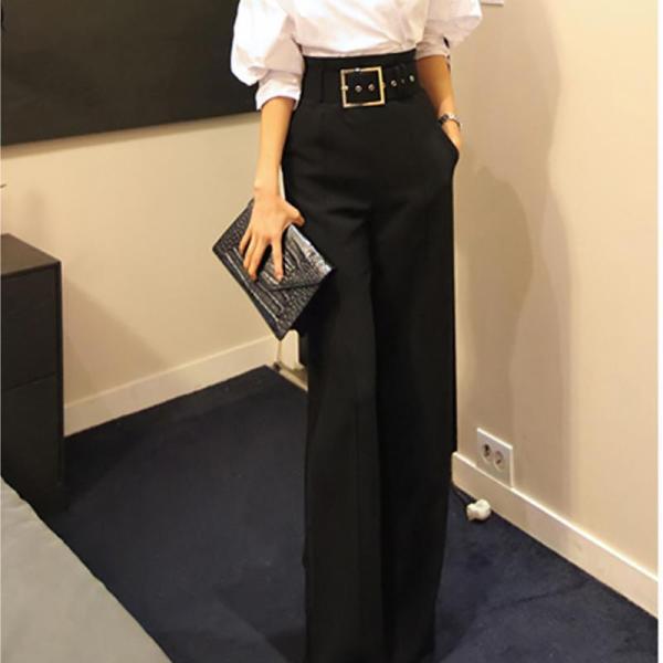 Fashion Broad Leg High-Waist Pure Colour Pants