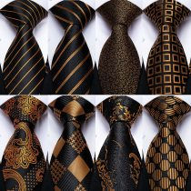 Gift Men Tie Luxury Gold Black Striped Paisley Silk Wedding Tie For Men EBUYTIDE Designer Hanky Cufflinks Fashion Tie Set