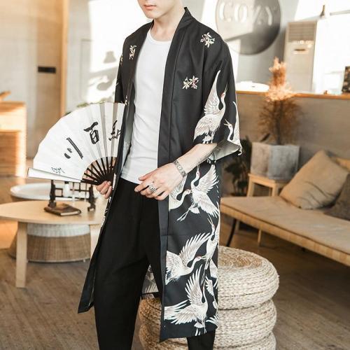 Hawaiian Shirt Men Clothes 2020 Japanese Streetwear Extra Long Chinese Male Shirt Cool Blouse Male Kimono Cardigan