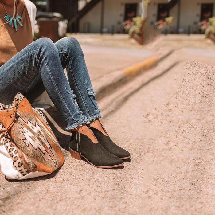 Women's European And American Fashion Solid Color Side Zipper Pointed Thick Ankle Boots