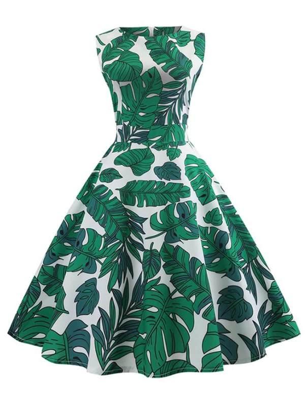 1950S Leaf O Neck Swing Dress