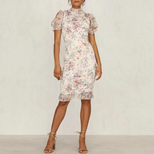 Sexy Print Slim Short Sleeve Dress