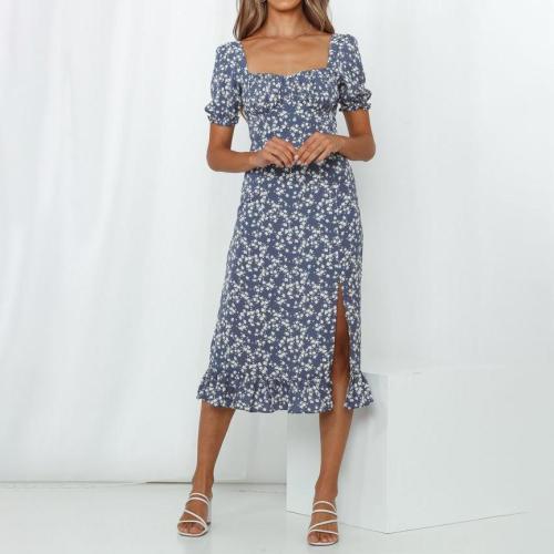 One-shoulder mid sleeve printed sexy midi dress