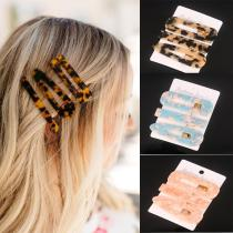 3PCS/Set Fashion Acetate Geometric Hair Clips For Women Girls  Sweet Hairpins Barrettes Hair Accessories Set