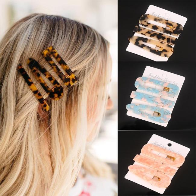 3PCS/Set Fashion Acetate Geometric Hair Clips For Women Girls  Sweet Hairpins Barrettes Hair Accessories Set