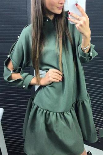 Fashion Solid Long Sleeves Mini Dress