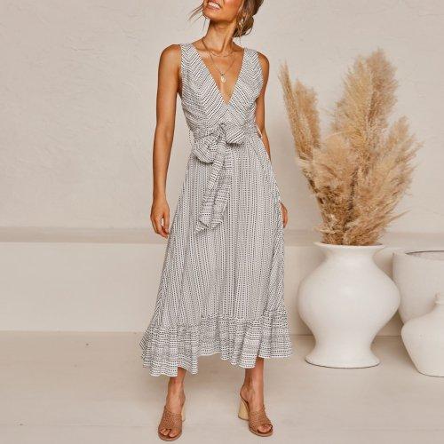 Fashion sleeveless overlap dress