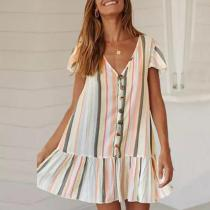 Sexy V-Neck Striped Short Sleeve Dress