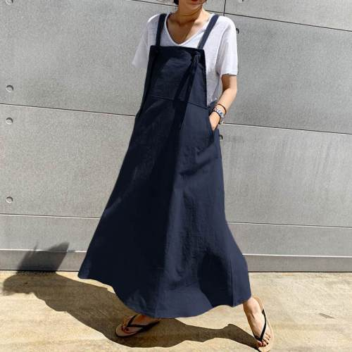 Linen Long Dress Casual Apron Dress