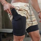 Men's Casual Shorts 2 in 1 Running Shorts Quick Drying Sport Shorts Gyms Fitness Bodybuilding Workout Pockets Jogging
