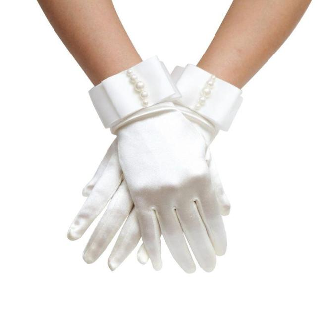 Womens Short Full Fingers Faux Pearl Beaded Bridal Wedding Gloves With Bow Satin