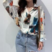 Casual Loose Print Shirts Fashion Lapel Chiffon Women Blouses  Shirts