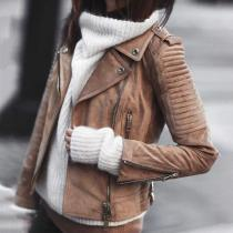 Rivets Lapel Zippers Women Slim Motorcycle Short Jacket Coat