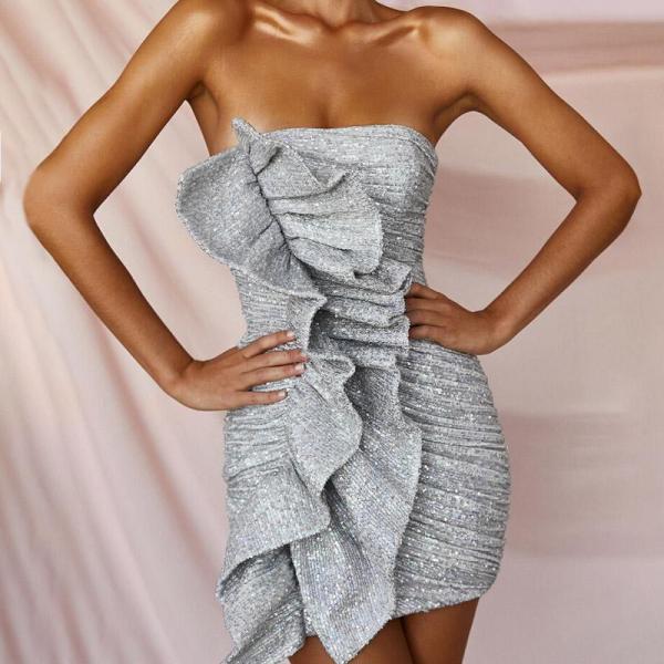 Fashion Sexy Tube Top Silver Bodycon Dress