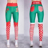Christmas Print High-Waisted Pants