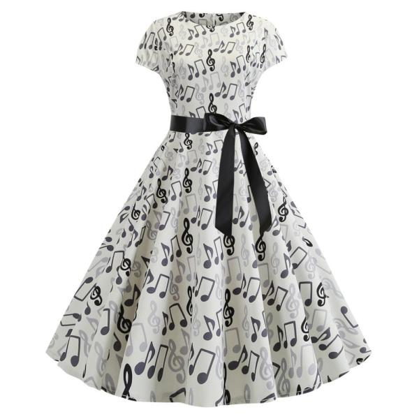 Music Note Print Summer Dress 2020 Fashion Short Sleeve Robes Vintage Pinup Rockabilly Dress Big Swing 50s 60s Party Dresses