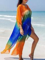 Plus Size Gradient V-neck Cover-ups Swimwear
