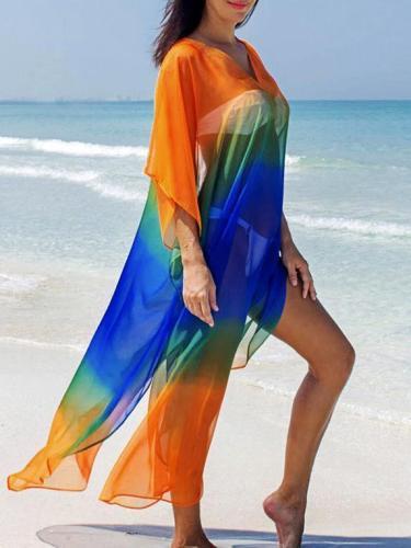 Plus Size Gradient V-neck Cover-ups Swimwear