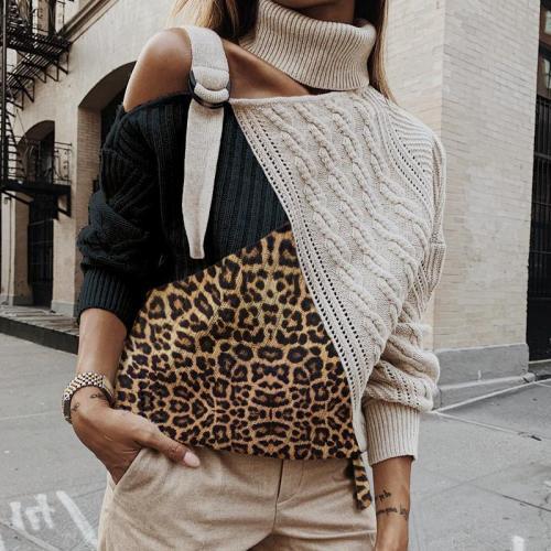 Fashion Leopard Print High Neck Splicing Sweater