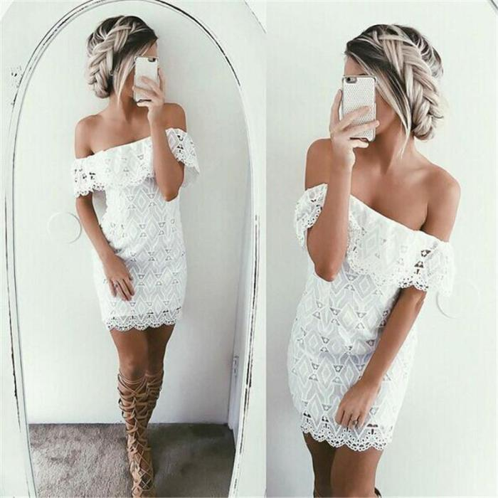 Sexy Strapless Bodycon Lace Short Dress