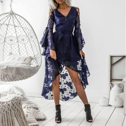 Sexy V Neck Bell Sleeve Irregular Ruffled Printed Colour Dress