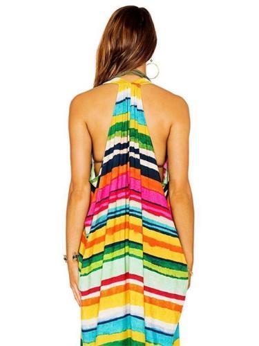 Beautiful Color Stripe Cover-Ups Swimwear