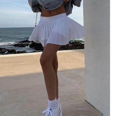 2020 New Tenny Skirt A-line White High Waist Mini Tennis Skirt Ruffle Casual Skirt Womens Summer Overall Skirt Tennis Skorts