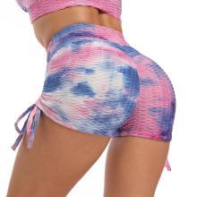 Women Tie Dye Sport Shorts High Waist Stretchy Fitness Running Gym Jogging Leggins Ladies Printed Push Up Yoga Shorts Sportwear