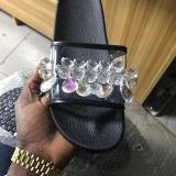 Women Fashion Rhinestone Slippers Comfy Open Toe Slides
