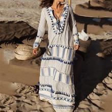 Bohemian V Neck Striped Tassel Long Sleeve Vacation Dresses