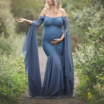 Maternity Solid Color Off Shoulder Long Sleeve Photo Props Gown